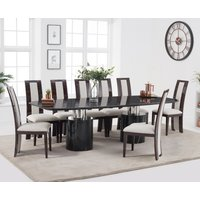 Antonio 260cm Black Marble Dining Table with Raphael Chairs - Black, 6 Chairs