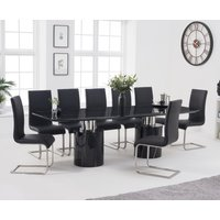 Antonio 260cm Black Marble Dining Table with Malaga Chairs - Grey, 6 Chairs