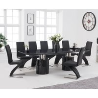Antonio 260cm Black Marble Dining Table with Hampstead Z Chairs - Grey, 6 Chairs