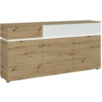 Product photograph showing Lucy White And Oak 3 Door 2 Drawer Sideboard With Led Lighting