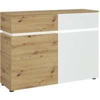 Product photograph showing Lucy White And Oak 2 Door 2 Drawer Cabinet With Led Lighting