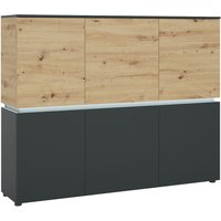 Product photograph showing Lucy Platinum And Oak 6 Door Cabinet With Led Lighting