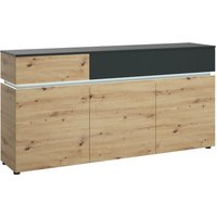 Product photograph showing Lucy Platinum And Oak 3 Door 2 Drawer Sideboard With Led Lighting