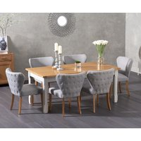 Somerset 180cm Oak and Grey Extending Dining Table with Isobel Fabric Chairs - Grey, 6 Chairs