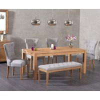 Verona 150cm Solid Oak Dining Table with Camille Fabric Chairs and Camille Grey Fabric Bench