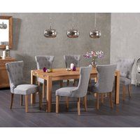 Read more about Verona 150cm solid oak dining table with camille fabric chairs