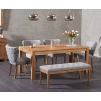 Verona 150cm Solid Oak Dining Table with Isobel Fabric Chairs and Camille Grey Bench - Grey, 2 Chairs