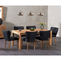 Verona 150cm Solid Oak Dining Table with Isobel Fabric Chairs - Grey, 6 Chairs