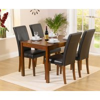 Oxford 120cm Dark Solid Oak Dining Table with Albany Chairs - Brown, 4 Chairs
