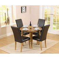 Product photograph showing Ex-display Oxford 90cm Solid Oak Drop Leaf Extending Dining Table With 2 Albany Black Chairs