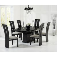 Carvelle 200cm Black Pedestal Marble Dining Table with Verbier Chairs - Black, 6 Chairs