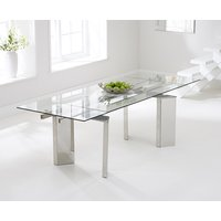 Product photograph showing Mozart 160cm Extending Glass Dining Table