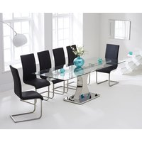 Athena 160cm Glass Extending Dining Table with Malaga Chairs