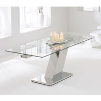 Product photograph showing Luna 140cm Extending Glass Dining Table