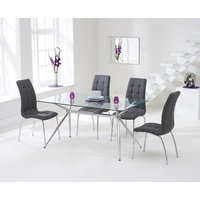 Product photograph showing Ex-display Savelli 150cm Glass Dining Table With 4 Grey Calgary Chairs
