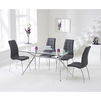 Product photograph showing Ex-display Savelli 150cm Glass Dining Table With 6 Grey Calgary Chairs