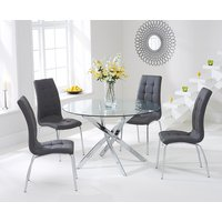 Denver 110cm Round Glass Dining Table with 4 Calgary Chairs