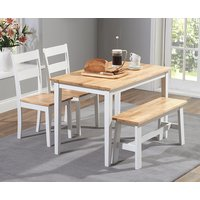 Chiltern 114cm Oak and White Dining Set with Bench and Chairs - Oak and White, 2 Chairs