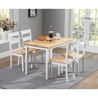 Chiltern 114cm Oak and White Dining Table Set with Chairs - Oak and White, 4 Chairs