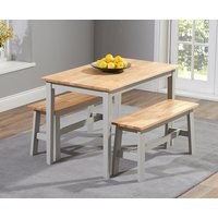 Read more about Chiltern 114cm oak and grey dining table set with benches