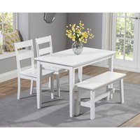 Read more about Chiltern 114cm white dining set with bench and chairs - white- 2 chairs