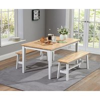 Product photograph showing Ex-display Chiltern 150cm Oak And White Dining Table Set With Benches