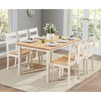 Chiltern 150cm Oak and Cream Dining Table and Chairs - Cream, 4 Chairs