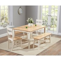 Product photograph showing Ex-display Chiltern 150cm Oak And Cream Dining Set With One Bench And Two Chairs