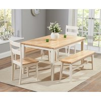 Chiltern 150cm Oak and Cream Dining Set with Benches and Chairs - Cream, 2 Chairs