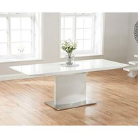 Product photograph showing Ex-display Hailey 160cm White High Gloss Extending Dining Table
