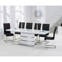 Read more about Babington 160cm white high gloss extending dining table with malaga chairs