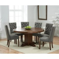 Torino 150cm Dark Solid Oak Round Pedestal Dining Table with Anais Fabric Dark Oak Leg Chairs
