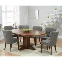 Torino Dark Solid Oak Extending Pedestal Dining Table with Knightsbridge Fabric Dark Oak Leg Chairs - Grey, 4 Chairs