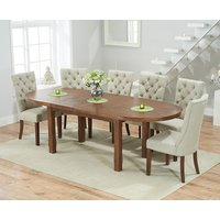 Product photograph showing Chelsea Dark Oak Extending Dining Table With Anais Fabric Dark Oak Leg Chairs - Beige 4 Chairs