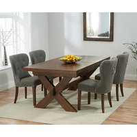 Bordeaux 200cm Dark Solid Oak Extending Dining Table with Knightsbridge Chairs - Grey, 6 Chairs