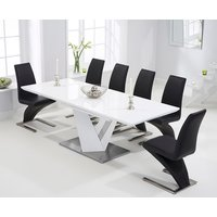 Harmony 160cm White High Gloss Extending Dining Table with 6 Hampstead Chairs