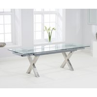 Product photograph showing Celeste 160cm Extending Glass Dining Table