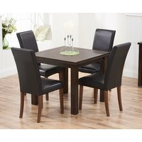 Somerset 90cm Flip Top Dark Oak Dining Table with Albany Chairs - Brown, 2 Chairs