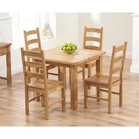 Somerset 90cm Flip Top Oak Dining Table with Vermont Chairs - Timber, 2 Chairs