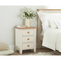 Product photograph showing Ex-display Camden Ash And Cream 3 Drawer Bedside Table