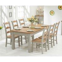 Somerset 180cm Oak and Grey Extending Dining Table with Somerset Chairs - Oak and Grey, 6 Chairs