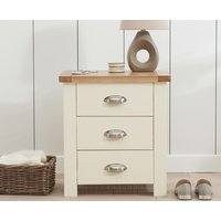 Product photograph showing Somerset Oak And Cream 3 Drawer Bedside Table