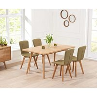 Product photograph showing Ex-display Tivoli 150cm Retro Oak Extending Dining Table And 4 Green Chairs