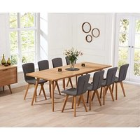 Product photograph showing Ex-display Tivoli 200cm Retro Oak Extending Dining Table And 6 Grey Chairs