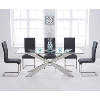 Juniper 200cm Glass Dining Table with Malaga Chairs - Grey, 6 Chairs