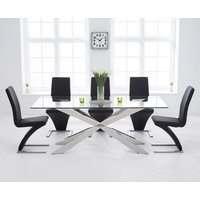 Juniper 200cm Glass Dining Table with Hampstead Z Chairs - Ivory, 6 Chairs