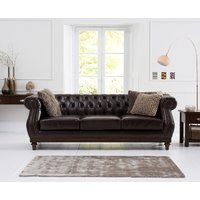 Product photograph showing Henbury Chesterfield Brown Leather 3 Seater Sofa