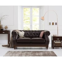 Product photograph showing Henbury Chesterfield Brown Leather 2 Seater Sofa