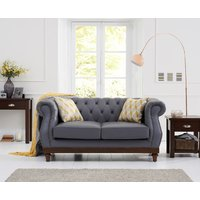 Product photograph showing Henbury Chesterfield Grey Leather 2 Seater Sofa