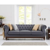 Product photograph showing Henbury Chesterfield Grey Leather 3 Seater Sofa